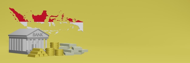 La banque avec des pièces d'or en indonésie pour la télévision sur les réseaux sociaux et les couvertures de fond de site web peut être utilisée pour afficher des données ou des infographies dans un rendu 3d.