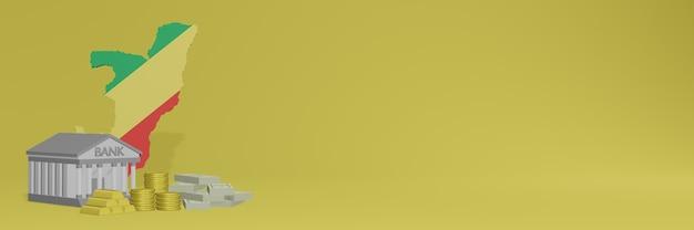 La banque avec des pièces d'or en république du congo pour la télévision sur les réseaux sociaux et les couvertures de fond de site web peut être utilisée pour afficher des données ou des infographies dans un rendu 3d.