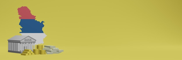 La banque avec des pièces d'or en serbie pour la télévision sur les réseaux sociaux et les couvertures de fond de site web peut être utilisée pour afficher des données ou des infographies dans un rendu 3d.