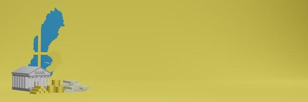 La banque avec des pièces d'or en suède pour la télévision sur les réseaux sociaux et les couvertures de fond de site web peuvent être utilisées pour afficher des données ou des infographies dans un rendu 3d.