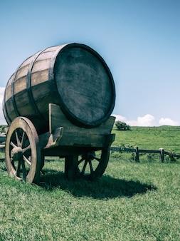 Baril de vin dans le champ d'herbe verte dans des tons vintage