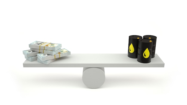 Barils de pétrole et argent sur une balance.