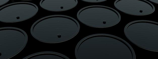 Barils de pétrole en métal noir, concept industriel