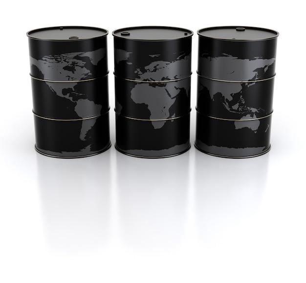 Barils de terre et de pétrole. rendu 3d