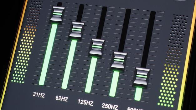 Barre d'égaliseur de musique. égaliseur de forme d'onde audio sur fond noir d'écran. musique ou onde sonore sur le moniteur. abstrait de visualiseur sonore coloré. graphique musical à spectre dégradé. le graphique numérique brille dans le noir.