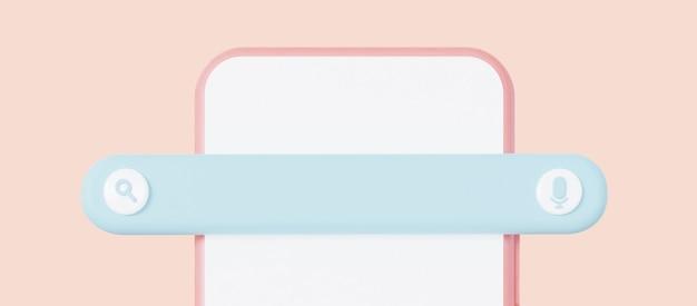 Barre de moteur de recherche sur smartphone recherche d'informations dans le rendu 3d d'internet