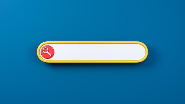 Barre de recherche 3d sur fond bleu