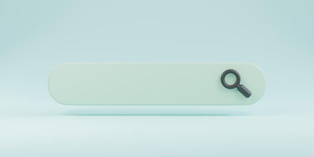 Barre de recherche de conception minimale avec loupe sur fond bleu, concept de moteur de recherche web par rendu 3d.
