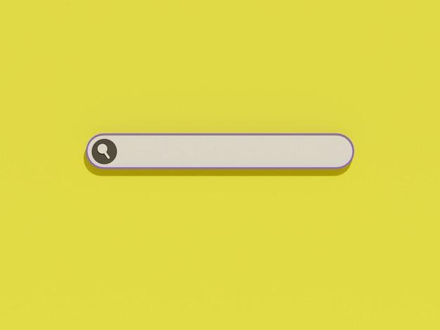Barre de recherche avec icône de recherche et fond jaune dans la conception 3d