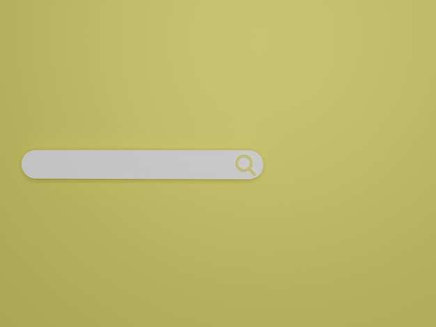 Barre de recherche minimaliste de rendu 3d sur fond jaune