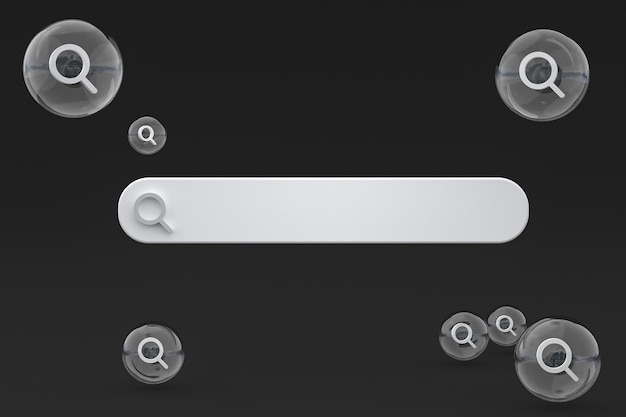 Barre de recherche et recherche d'icônes rendu 3d design minimal sur fond vide