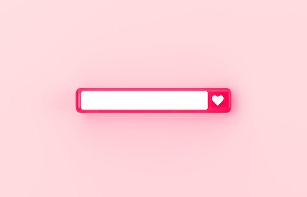 Barre de recherche vierge 3d rose avec icône coeur sur fond isolé.