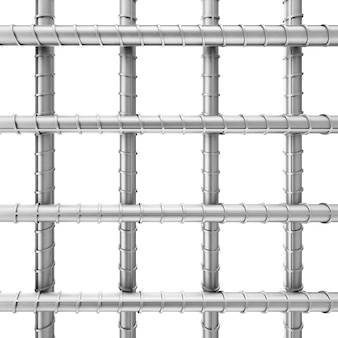 Barres d'armature en acier de renfort métallique comme treillis métallique soudé sur un fond blanc. rendu 3d.