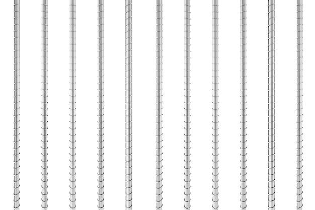 Barres d'armature en acier de renfort métallique sur un fond blanc. rendu 3d.