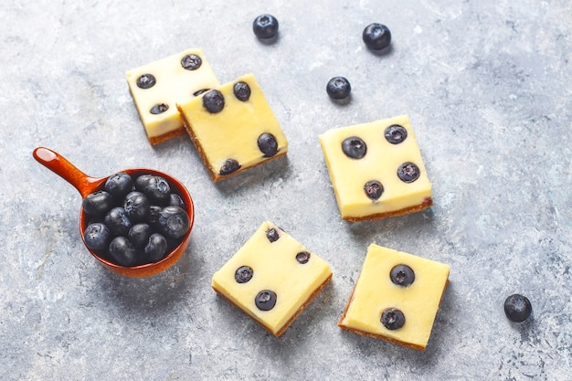 Barres de gâteau au fromage aux bleuets avec du miel et des baies fraîches.