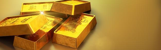Des barres d'or brillantes se bouchent. rendu 3d