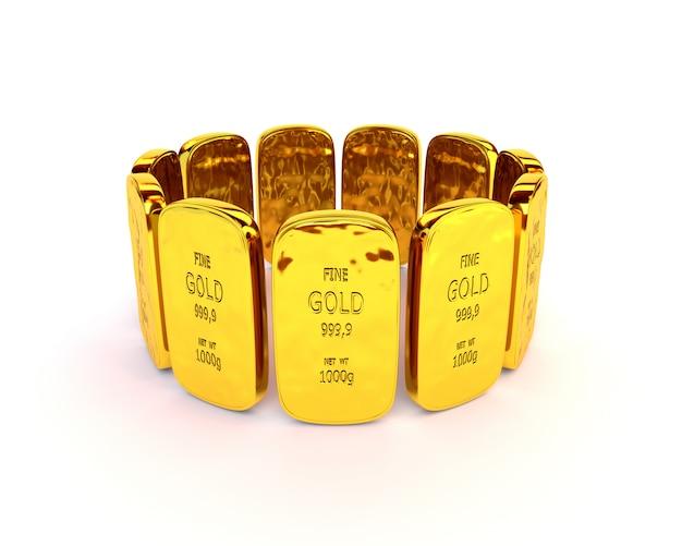 Barres d'or dans une pile sur fond blanc