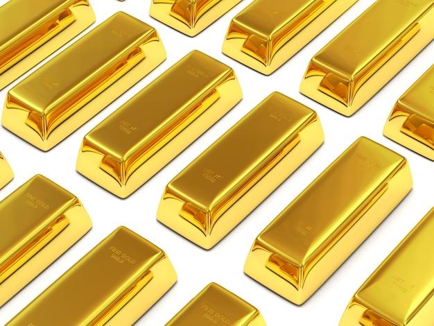 Barres d'or sur fond blanc