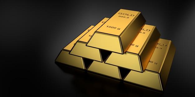 Des barres d'or en rendu 3d