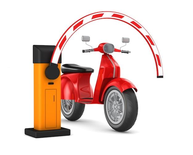 Barrière automatique et scooter. rendu 3d isolé