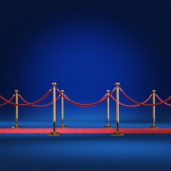 Barrière dorée avec corde rouge 3d