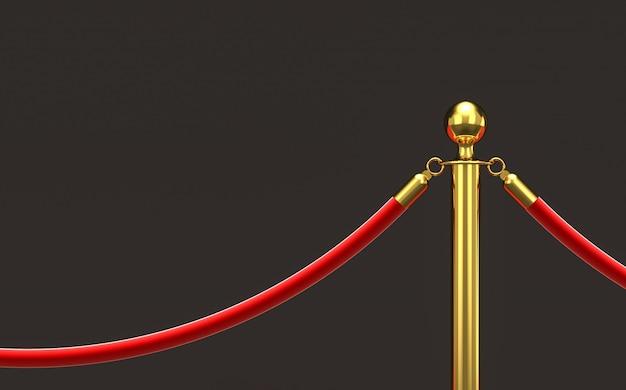 Barrière dorée et corde rouge