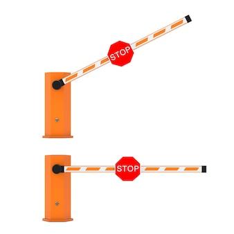 Barrière de voiture de route avec panneau d'arrêt sur un fond blanc. rendu 3d