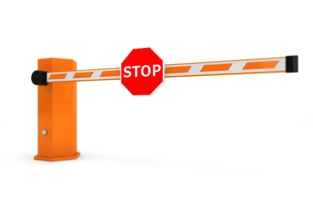 Barrières de voiture de route avec panneau d'arrêt sur fond blanc
