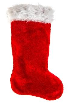 Bas de noël rouge. objet de décoration isolé sur fond blanc. symbole de vacances d'hiver