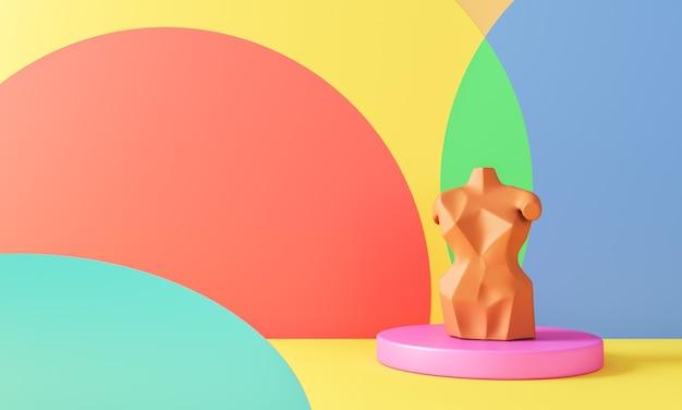 Base de cercle rose et modèle beige sur divers cercle coloré en scène jaune. rendu 3d