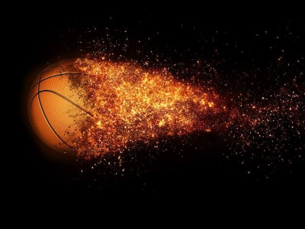 Basket-ball et explosion de feu dans le rendu 3d