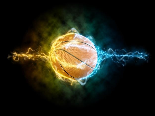 Basket-ball et ondes électriques dans le rendu 3d