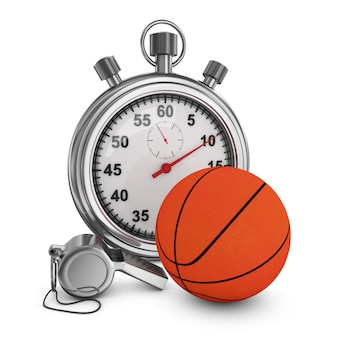 Basket-ball, sifflet d'arbitre et chronomètre sur fond blanc. rendu 3d.