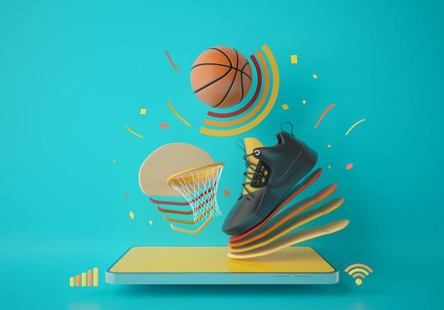 Basket-ball avec un smartphone. jeu en ligne d'application sportive. programme d'entraînement de basket-ball. conception de concepts sportifs. espace de copie de fond vert. la connexion mobile du magasin d'achat en ligne. illustrateur 3d