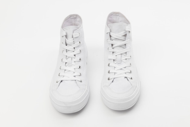 Baskets montantes blanches mode chaussures unisexes