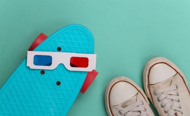 Baskets old school et lunettes 3d anaglyphes, planche cruiser sur vert menthe
