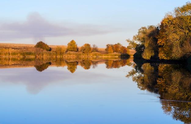 Bassin tranquille avec reflet du rivage