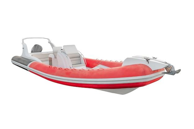Bateau à moteur gonflable rouge isolé sur blanc