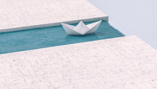 Bateau en papier naviguant vers une cascade.
