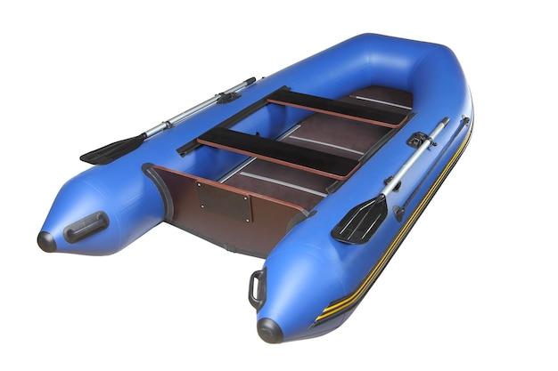 Bateau pneumatique sport bleu foncé pour les loisirs et la pêche, avec rames, parquet en contreplaqué et sièges en acajou.