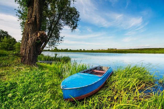 Bateau sur le rivage dans un magnifique paysage d'été
