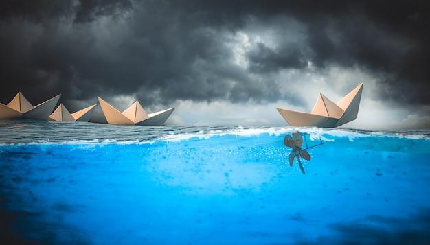 Bateaux en papier sur l'eau