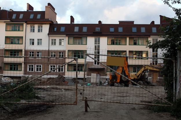 Bâtiment arrière-plan de construction floue