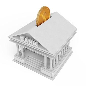 Bâtiment bancaire avec pièce d'or comme tirelire sur fond blanc. rendu 3d.
