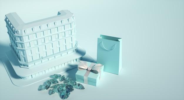Bâtiment de bijouterie, boîte à cadeaux et sac en papier, pierres précieuses et diamants. illustration 3d