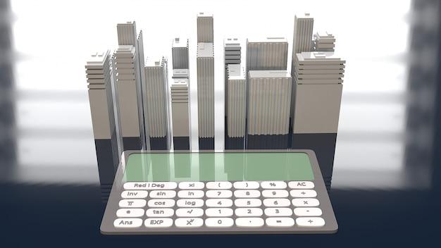 Bâtiment blanc et calculatrice pour la propriété