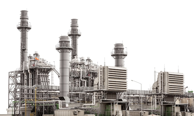 Bâtiment de la centrale électrique isolé sur blanc
