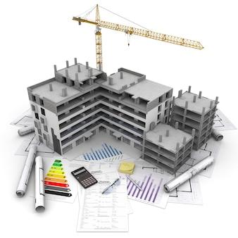 Bâtiment en construction avec grue, au-dessus de plans