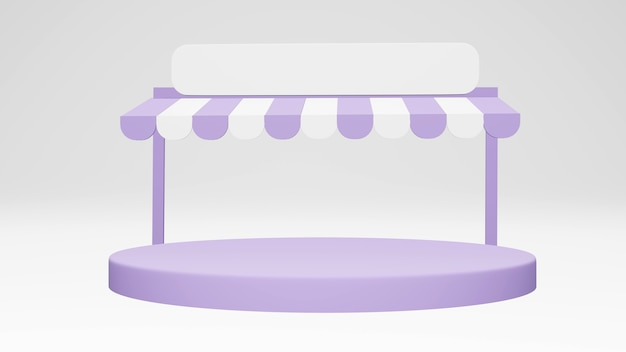 Bâtiment de devanture de dépanneur minimal avec un podium isolé sur fond pour la conception commerciale