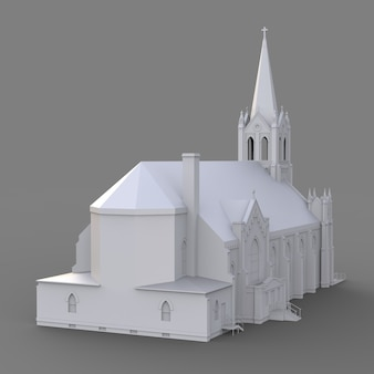 Le bâtiment de l'église catholique, vues de différents côtés. illustration blanche en trois dimensions sur fond gris. rendu 3d.